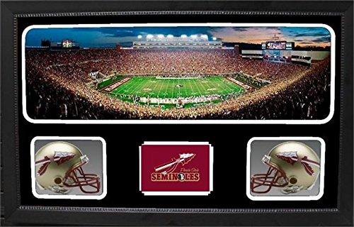 NCAA Florida State Seminoles 657-15 Custom Framed Sports Memorabilia with Two Mini Helmets Photograph and Name Plate, by Encore