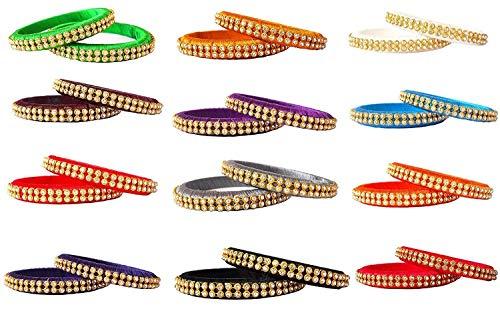 12 Bangle Set - GOELX Silk Thread Bangles Combo in Elegant Bangles Set of 24 Bangles in 12 Colors (Multicolor, 2.4)