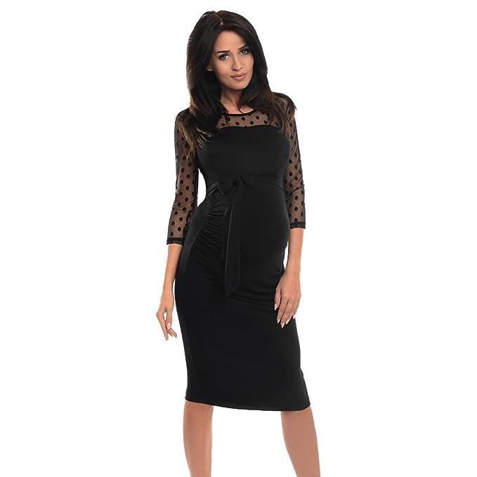 875db5e00 Atezch Pregnant Dress, Women Fashion Lace Polka Dot Patchwork Maternity  Pregnancy Bodycon Dress at Amazon Women's Clothing store: