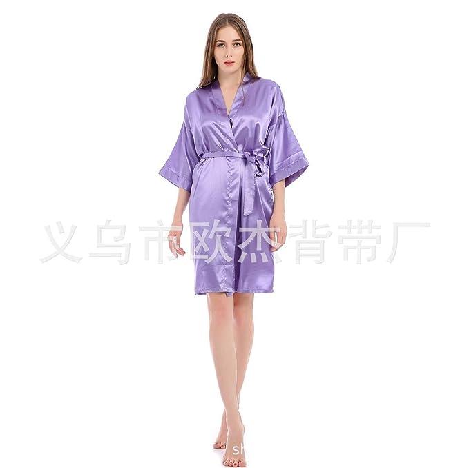 MAIMOMO Batas Y Kimonos para Mujer Vestido De Noche De La Boda Vestido De Traje De Baño Bridesmaid Camisón Sexy Albornoz Largo De Seda De Hielo Albornoz: ...