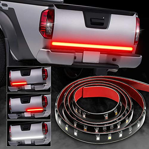 - SOLMORE 49Inch 72-LED Tailgate Light Bar Waterproof IP67 Truck Bed Lights Flexible Tailgate Light Strip,Brake Light Strip,Stop,Running,Turn Signal,Reverse Tail Light Bar for Truck SUV Trailer Pickup