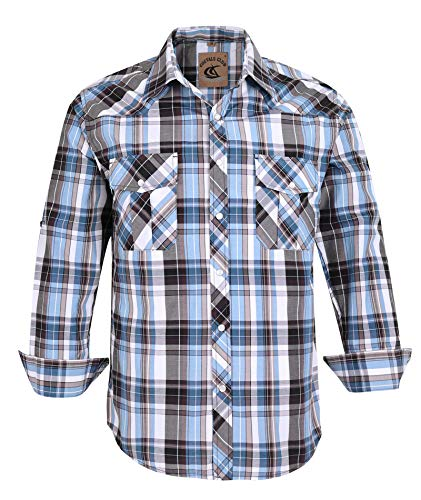 Coevals Club Men's Button Down Plaid Long Sleeve Work Casual Shirt (Light Blue & Gray #10, L)