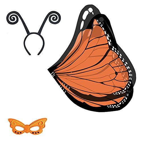 Baby Song Monarch Butterfly Wings Costume with Headband&Mask Orange Butterfly Wings for Girls WA-1 -
