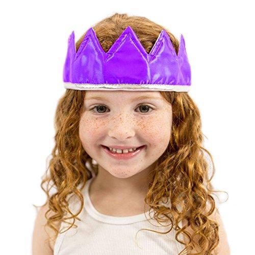 (Everfan Purple Satin Crown - Royal Princess, Prince, King, Queen, Dress up Costume)