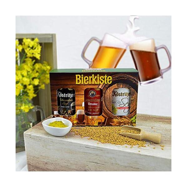 51Wup9eGrnL Altenburger Original Bierkiste - drei mit Bier verfeinerte Senfsorten als Geschenk-Set (3-teilig), Geschenkbox für…