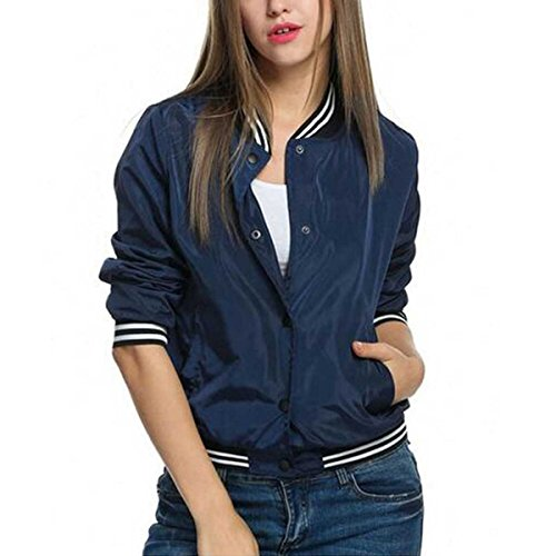 Celmia Womens Fashion Long Sleeve Ribbed Cuffs Collar Solid Bomber Jacket Ladies Baseball Coat Outwear Navy (Ladies Casual Jackets)