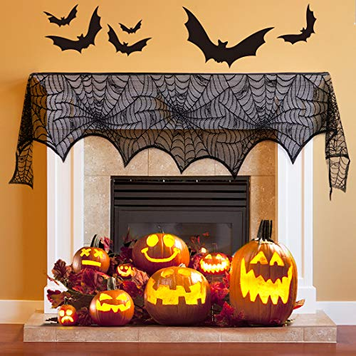 AYOGU Halloween Decorations Black Lace Spiderweb Fireplace Mantle Scarf Cover Festive Party Supplies Clearance,18 x 96 inch ()