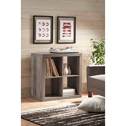 Better Homes And Gardens Bookshelf Square Storage Cabinet 4 Cube Organizer Rustic Gray With Set