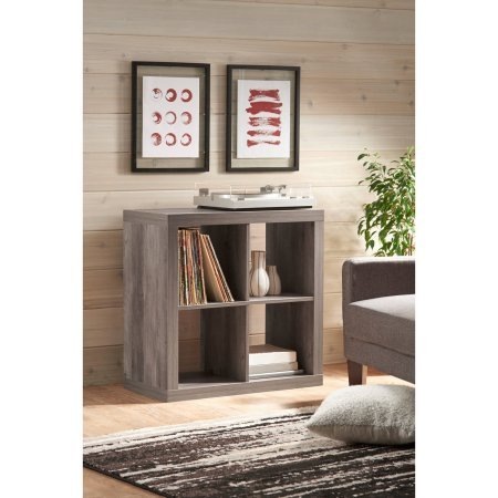 - Better Homes and Gardens* Wood Storage Square Organizer 4-Cube Bookshelf in Rustic Gray
