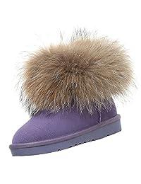 Feisen Women's Waterproof Leather Fox Fur Winter Oxford Snow Boot