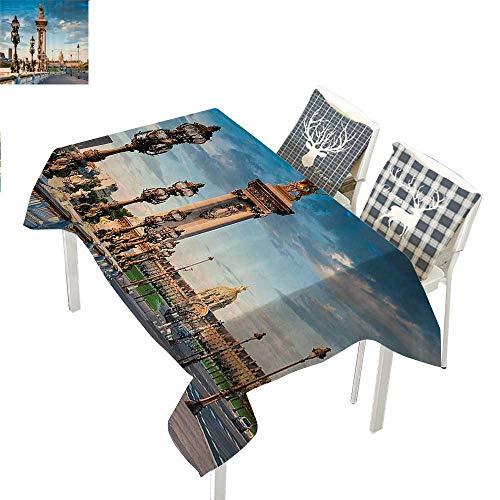 (WilliamsDecor Paris Decor Collection Holiday Tablecloth Pont Alexandre III Bridge 1896 Spanning The River Seine Ornate Art Nouveau Lamps ImageBlue Ivory Rectangle Tablecloth W60 xL84 inch)