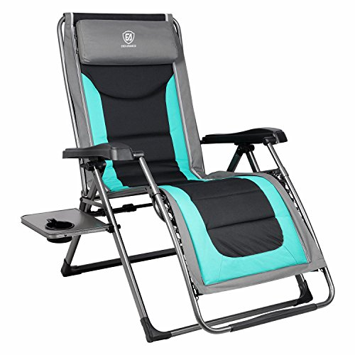 (EVER ADVANCED Oversize XL Zero Gravity Recliner Padded Patio Lounger Chair with Adjustable Headrest Support 350lbs,)