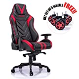 Aminiture Big and Tall Gaming Chair Red, High Back Recliner Chair,PU Leather Computer Chair,Swivel Office Chair with Lumbar Support