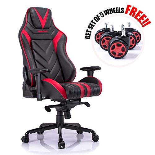 Aminiture Big and Tall Gaming Chair Red, High Back Recliner Chair,PU Leather Computer Chair,Swivel Office Chair with Lumbar Support by Aminiture