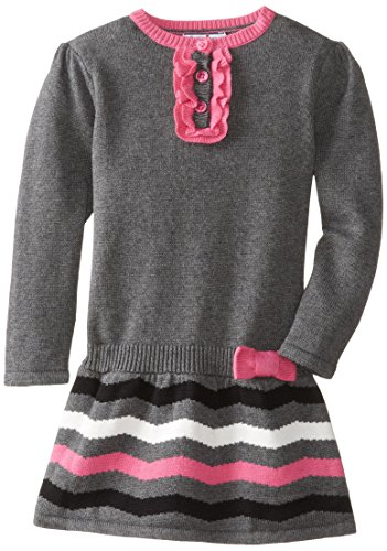 Hartstrings Little Girls' Cotton Intarsia Sweater Dress, Dark Grey Heather, 5/6 (Hartstrings Cotton Dress)