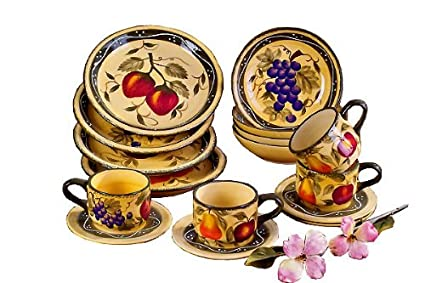 Tuscany Mixed Fruit 16 Piece Dinnerware Set  sc 1 st  m.amazon.com & Amazon.com | Tuscany Mixed Fruit 16 Piece Dinnerware Set: Tscany ...