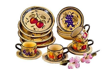 Amazon.com | Tuscany Mixed Fruit 16 Piece Dinnerware Set: Tscany ...