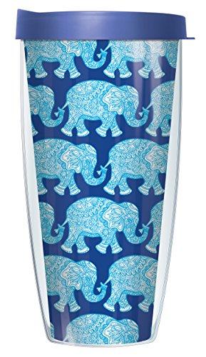 Coffee Elephant Mug (Royal Elephants On Blue Wrap Super Traveler 22 Oz Tumbler Mug with Lid)