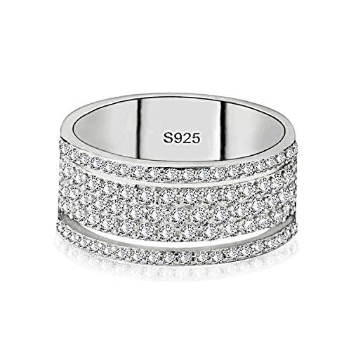 (Handmade Moon Star Promise Cz 100% Real 925 Sterling silver Engagement wedding band ring,9,2)