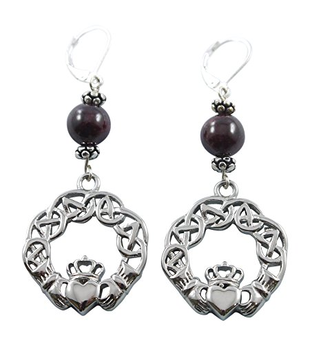 Stainless Steel Claddagh Earrings with Garnet Beads, 1 3/4