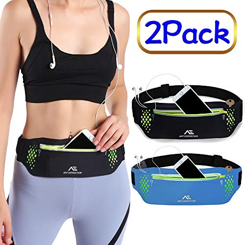 Running Belt Waist Pouch Phone Holder Workout Belt Sport Waist Pack Exercise Waist Bag for Apple iPhone 8 X 7 6+ 5s Samsung in Jogging Hiking Travelling Cycling Fitness (01.black+blue(2 Pack))
