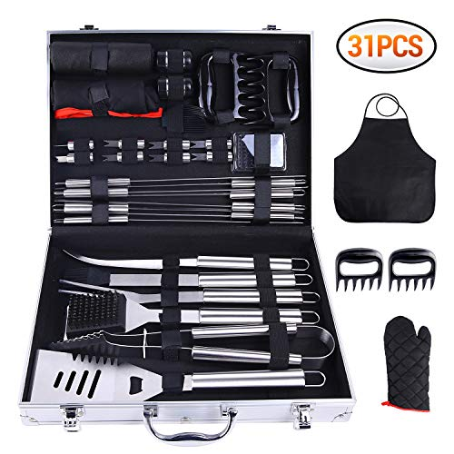 Ohuhu 31-Piece BBQ Tool Set, Grill Accessories Heavy Duty Stainless Steel, Barbecue Grill Utensils Set with Aluminium Case, Grilling Tools with Barbecue Claws Perfect BBQ Gift Set for Men Fathers Day