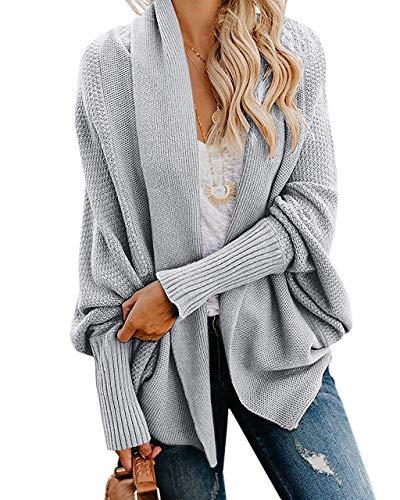 Ybenlow Womens Kimono Open Front Cardigan Sweaters Batwing Sleeve Shawl Collared Oversized Sweater Cloak Outwear (X-Large, Grey)]()