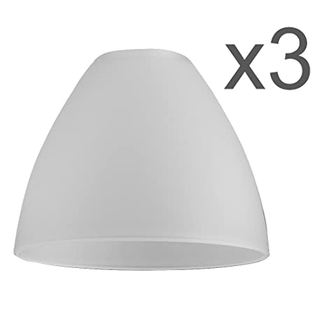 Set Of 3 White Frosted Glass Bowl Shaped Replacement Shades
