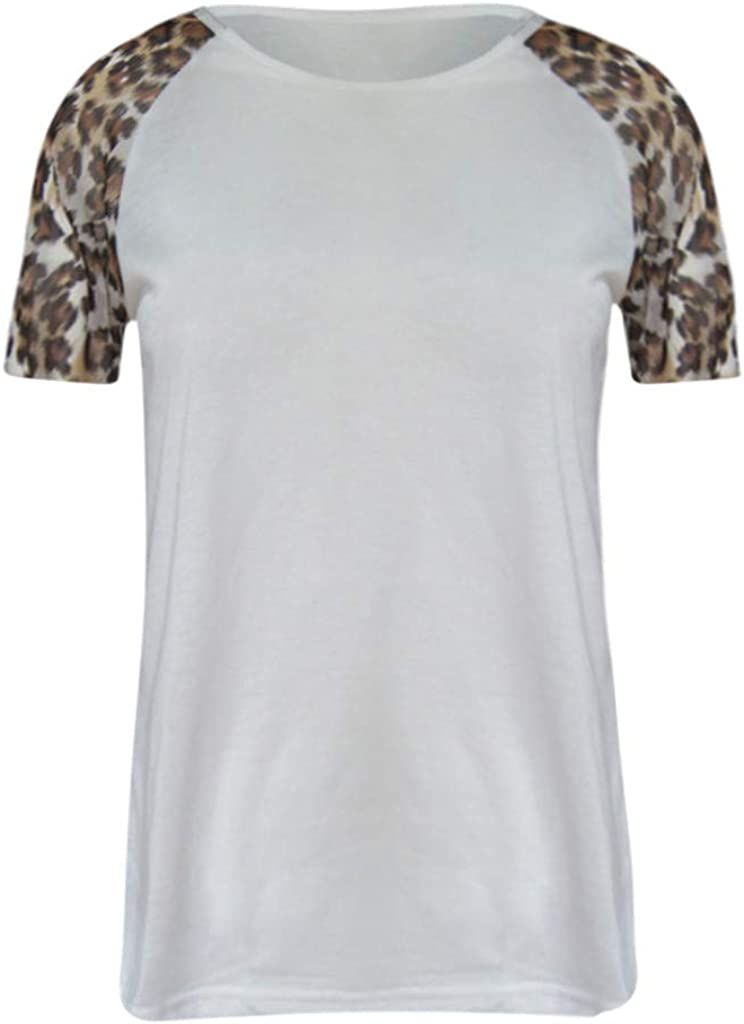 Rishine Womens Blouses Color Block Striped Patchwork Leopard Shirt Flowy Tunic Tops Summer T-Shirts