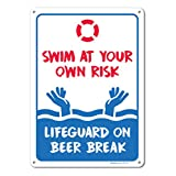 Pool Signs - Swim At Your Own Risk Pool Sign - Pool Rules - Large 10 X 14