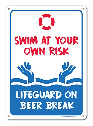 Pool Signs - Swim At Your Own Risk Pool Sign - Pool Rules - Large 10 X 14 Aluminum, For Indoor or Outdoor Use - By SIGO SIGNS