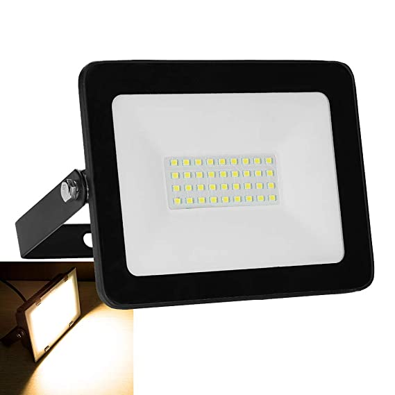 30W LED Scheinwerfer LED Strahler Fluter außen und innen 2400LM IP65 Wasserdicht Warmweiß Strahler Baustellenstrahler für Gar
