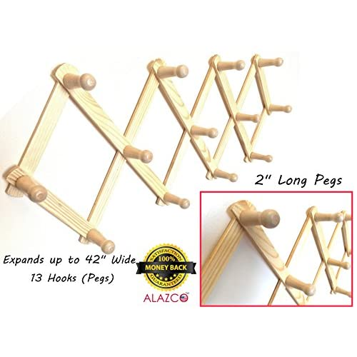 """1 ALAZCO Accordion Style Wood Expandable Wall Rack 13 Hooks (Pegs) For Hat, Cap, Belt, Umbrella Coffee Mug Jewelry Hanging - 2"""" Long wooden Pegs"""
