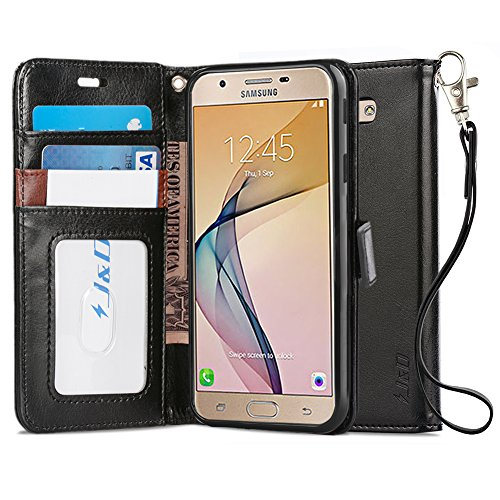 J&D Case Compatible for Galaxy J7 Prime SM-G610F Case, [Wallet Stand] [Slim Fit] Heavy Duty Protective Shock Resistant Flip Cover Wallet Case for Samsung Galaxy J7 Prime SM-G610F Wallet Case - Black