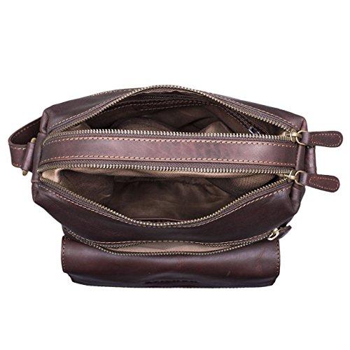 Brown Cognac flat Colour Tote evening 12 Stilord Pouces 2 'mira' Dark Leather Vintage Women handbag Genuine Bag Leather Shoulder Ux1xFqTZw