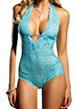Blidece Women Sexy Lingerie Halter Deep V-Neck Backless One Piece Bodysuit Nightwear Blue