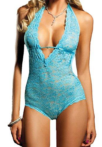 Blidece Women Sexy Lingerie Halter Deep V-Neck Backless One Piece Bodysuit Nightwear Blue by Blidece
