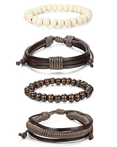 Jstyle 8 Pcs Braided Leather Bracelet for Men Women Wooden Beaded Bracelets Wrap Adjustable