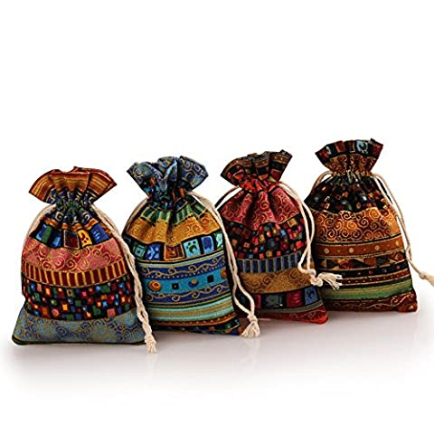 2500 Silk Brocade Cotton Sachet Candy Present Pouch Jewelry Travel Drawstring Coin Purse Gift Bag 4pcs/set - Pouch Gift Set