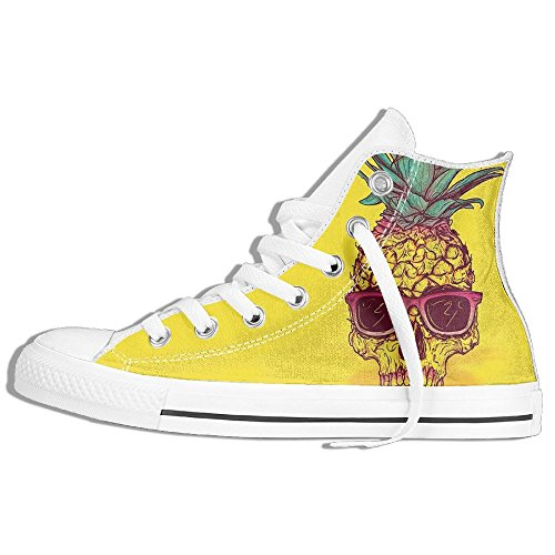 Classic High Top Sneakers Canvas Shoes Anti-Skid Pineapple Skull Casual Walking For Men Women White fRijmf99k