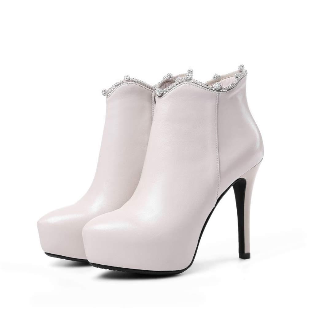 YAN Frauen es Stiletto Leder Herbst Winter Ankle Stiefel Mode High Heels Pointed Platform Stiefel Hochzeits-Party Abend Nachtklub,A,34