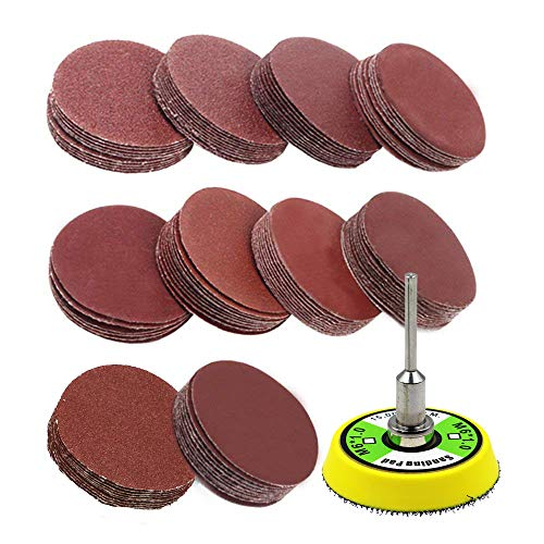 AxPower 100pcs 2 inch Sanding Discs Pad Kit for Drill Grinder Rotary Tools with Backer Plate 1/8