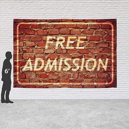 Ghost Aged Brick Heavy-Duty Outdoor Vinyl Banner Free Admission CGSignLab 9x6