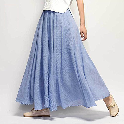 Denim Longue Elastique En Taille De Long Skirt Bohme Coton Elgante Pliss Lger Rtro Jupe Lin Femme Classique Plage 7wtqap