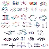 BodyJ4You 120 PCS Body Piercing Lot Belly Ring Labret Tongue Eyebrow Tragus Barbells 14G 16G Mix Jewelry
