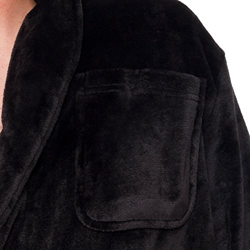 0258b6f330 Ross Michaels Mens Hooded Long Robe - Full Length Big   Tall Bathrobe (Black