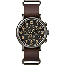 Timex Unisex TW2P85400ZA Fashion Weekender Vintage Chronograph Black Dial and Brown Leather Strap
