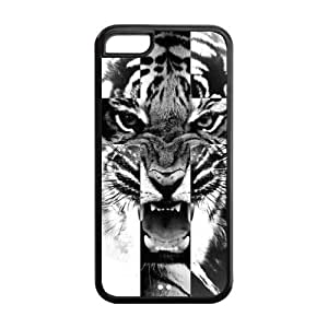 Black and White Tiger Roar Cross Protective Rubber Back Fits Cover Case for iPhone 5C by mcsharks