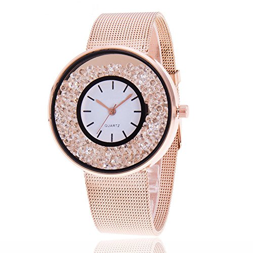 SADUORHAPPY Women Ladies Casual Luxury Gold Silver Rose Gold Tone Alloy Analog Quartz Bracelet Watch Big Face Small Dial Rhinestones Decorated Elegant Bangle Cuff Wristwatch ()