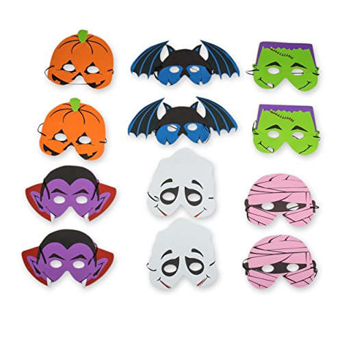 Halloween Party Costume Masks Bulk Pack 2 Dozen 24 Assorted Spooky and Fun Mask for Halloween Party Supplies, Halloween Games